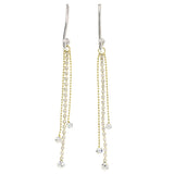 Silver-Tone & Gold-Tone Colored Metal Dangle-Earrings With Crystal Accents #4203