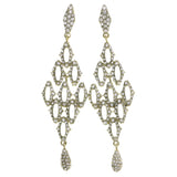 Gold-Tone Metal Dangle-Earrings With Crystal Accents #4200