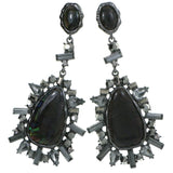 Gray Metal Drop-Dangle-Earrings With Crystal Accents #4188