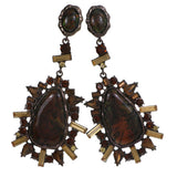 Bronze-Tone & Brown Colored Metal Drop-Dangle-Earrings With Crystal Accents #4193