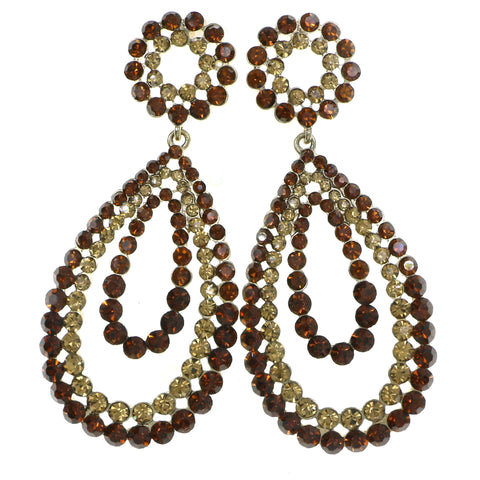 Gold-Tone & Brown Colored Metal Drop-Dangle-Earrings With Crystal Accents #4184