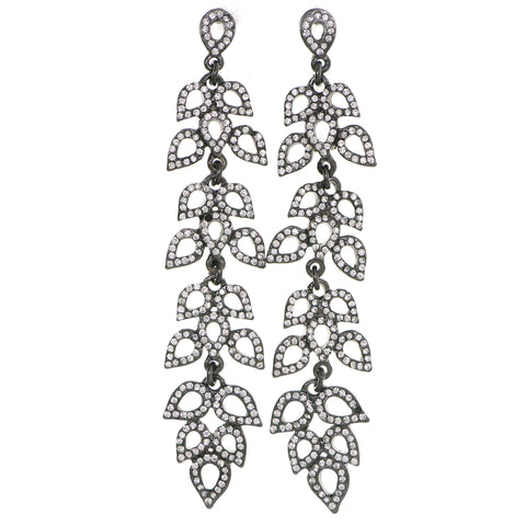 Gray Metal Drop-Dangle-Earrings With Crystal Accents #4187