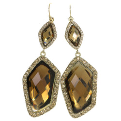 Gold-Tone & Yellow Colored Metal Drop-Dangle-Earrings With Crystal Accents #4189