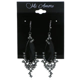 Black & Gray Colored Metal Dangle-Earrings With Crystal Accents #4201