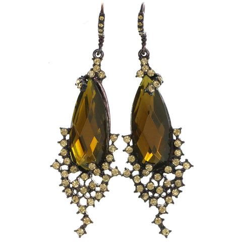 Bronze-Tone & Yellow Colored Metal Dangle-Earrings With Crystal Accents #4199