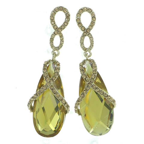 Gold-Tone & Yellow Colored Metal Drop-Dangle-Earrings With Crystal Accents #4219