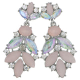 Silver-Tone & Pink Colored Metal Drop-Dangle-Earrings With Crystal Accents #4227