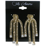 Gold-Tone Metal Dangle-Earrings With Crystal Accents #4194