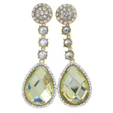 Gold-Tone & Yellow Colored Metal Drop-Dangle-Earrings With Crystal Accents #4206