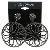 Gray & Black Colored Metal Drop-Dangle-Earrings With Crystal Accents #4231