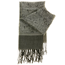 Women's Fashion Scarf - Silver Paisley Design SFS05