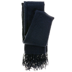 Women's Fashion Scarf - Blue Lattice Crochet Design SFS08