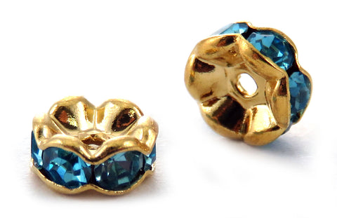 6mm Spacer Goldplate Aqua Crystal Rondelle SPC11 - Mi Amore