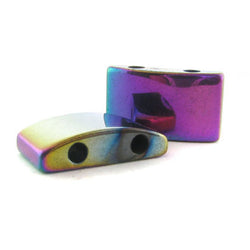 10X18mm Magnetic Spacer Rainbow 2-Hole Half-Oval 50Pc SPMG09