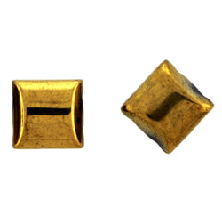 10X10mm Magnetic Gold Pillow 2-Hole Spacer 50Pc SPMG28
