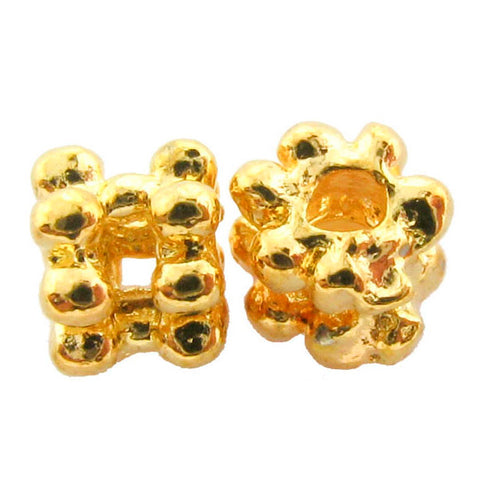 4X3mm Metal Spacer Bright Goldplate Wide Daisy SPMT06