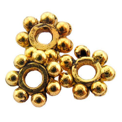 Metal Spacer Antique Goldplate Thin Daisy SPMT08