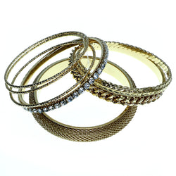 Gold-Tone Metal Multiple-Bangle-Bracelet-Set With Crystal Accents #2361