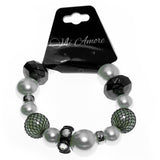 White & Gray Colored Acrylic Beaded-Stretch-Bracelet With Crystal Accents #2363