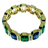 Gold-Tone & Green/Blue Colored Metal Stretch-Bracelet With Crystal Accents #2364
