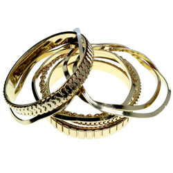Gold-Tone Metal Multiple-Bangle-Bracelet-Set #2366