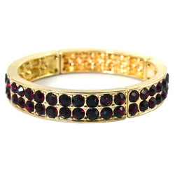 Gold-Tone & Red Colored Metal Stretch-Bracelet With Crystal Accents #2368
