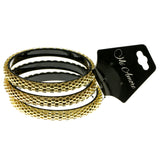 Gold-Tone & Black Colored Metal Multiple-Bracelets #2369