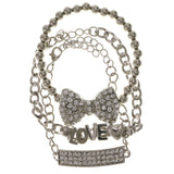 Love Bow 3 Piece Multiple-Chain-Bracelet With Crystal Accents Silver-Tone Color #2370