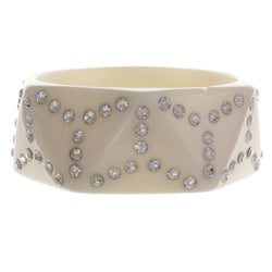 White Acrylic Bangle-Bracelet With Crystal Accents #2372