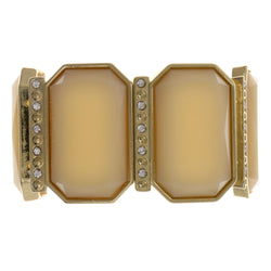Peach & Gold-Tone Colored Metal Stretch-Bracelet With Crystal Accents #2374