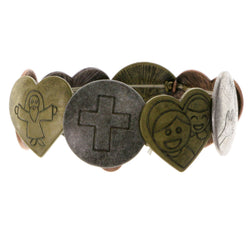 Religious Stretch-Bracelet Bronze Gold Silver Color  #2375