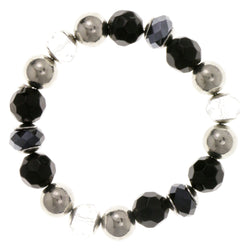 Black & Silver Colored Acrylic Stretch-Bracelet With Bead Accents #2376