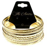 Gold-Tone Metal Multiple-Bangle-Bracelet-Set #2378
