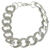 Chain Link Fashion-Bracelet Silver-Tone Color  #2381
