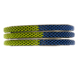 Blue/Yellow & Silver-Tone Colored Metal Multiple-Bangle-Bracelet-Set #2382