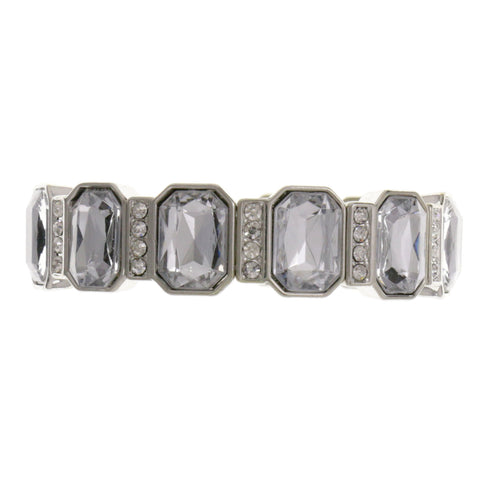 Silver-Tone Metal Stretch-Bracelet With Crystal Accents #2383