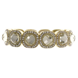Gold-Tone Metal Stretch-Bracelet With Crystal Accents #2384