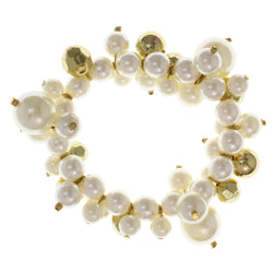 White & Gold-Tone Colored Acrylic Stretch-Bracelet With Bead Accents #2387