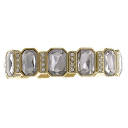 Gold-Tone Metal Stretch-Bracelet With Crystal Accents #2388