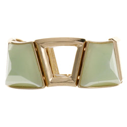Green & Gold-Tone Colored Metal Stretch-Bracelet With Faceted Accents #2395