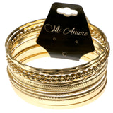 Gold-Tone Metal Multiple-Bangle-Bracelet-Set #2396