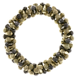 Dark Silver & Gold-Tone Colored Metal Stretch-Bracelet #2399