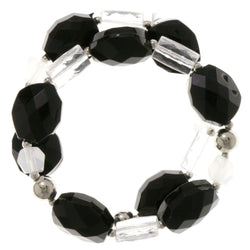 Black & Silver-Tone Colored Acrylic Stretch-Bracelet With Bead Accents #2402