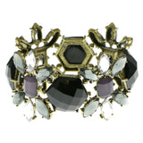 Colorful & Gold-Tone Colored Metal Bracelet With Faceted Accents #2403