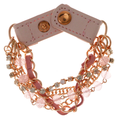 Multi-Strand Fashion-Bracelet With Crystal Accents Pink & Gold-Tone Colored #2406