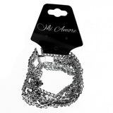Silver-Tone Metal Braided-Chain-Bracelet With Crystal Accents #2407