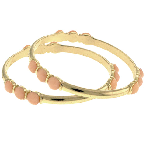 Peach & Gold-Tone Colored Metal Bangle-Bracelet With Faceted Accents #2408