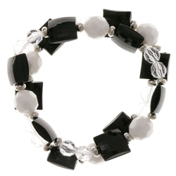 Black & White Colored Acrylic Stretch-Bracelet With Bead Accents #2410