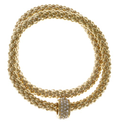 Gold-Tone Metal Stretch-Bracelet With Crystal Accents #2415