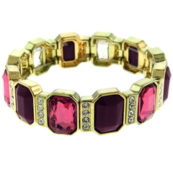 Gold-Tone & Pink Colored Metal Stretch-Bracelet With Crystal Accents #2425